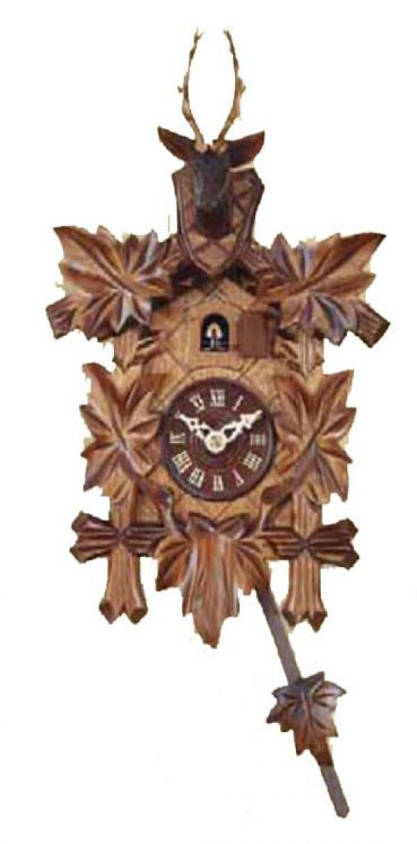 Engstler 522/5 carved with deer head cuckoo clock